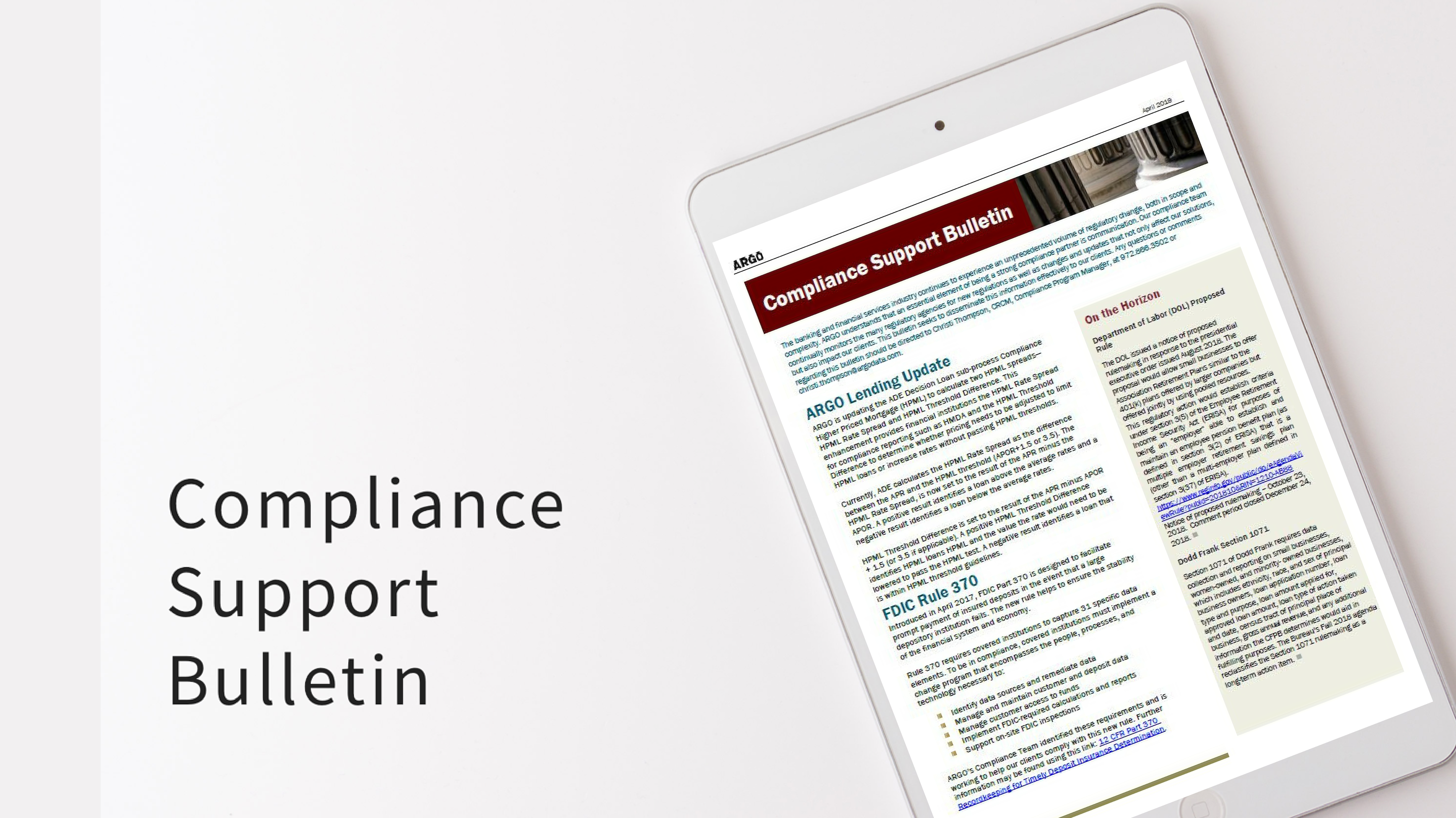 compliance support bulletin april